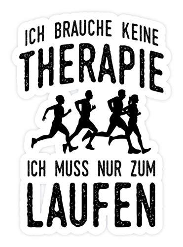 shirt-o-magic Aufkleber Läufer: Therapie? Lieber Laufen - Sticker - 10x10cm - Weiß