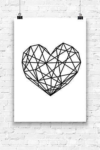Print Wandbild Poster Bild Wanddeko Geo Herz weiß schwarz A4