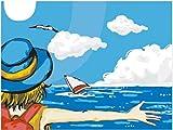 genrics Pintura por Número De Kit Kit Manualidades - Regalo para Adultos O Niños Decoraciones para El Hogar DIY - Chica Abraza A La Gaviota del Barco del Mar Azul