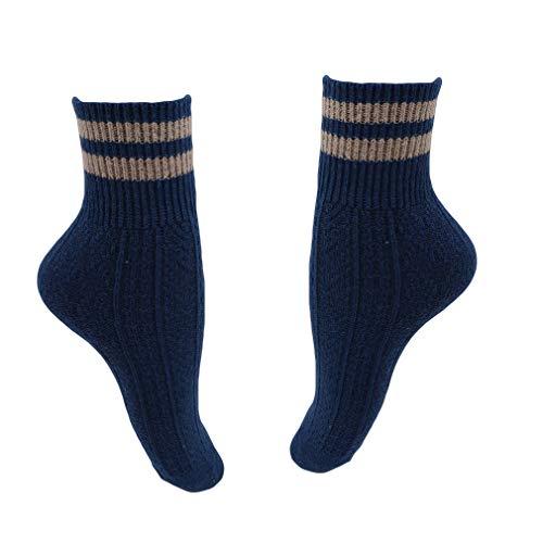 LGJJJ 5 Paar Wolle Socken Wandern Socken Thermische Warme Winter Socken Baumwolle Socken Komfortable Und Langlebige Warme Boden Socken Für Männer & Frauen, Marineblau