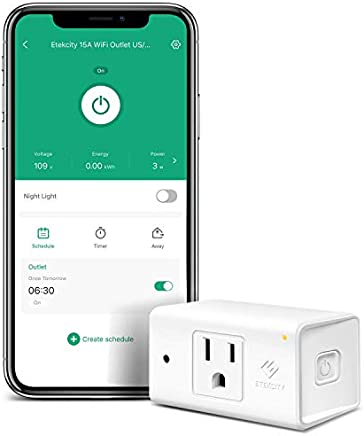 Etekcity Smart Plug, Works with Alexa and Google Home, WiFi Energy Monitoring Outlet with Automatic Night Light, No Hub Required, ETL Listed, White, 15A/1800W, 2 Years Warranty and Lifetime Support