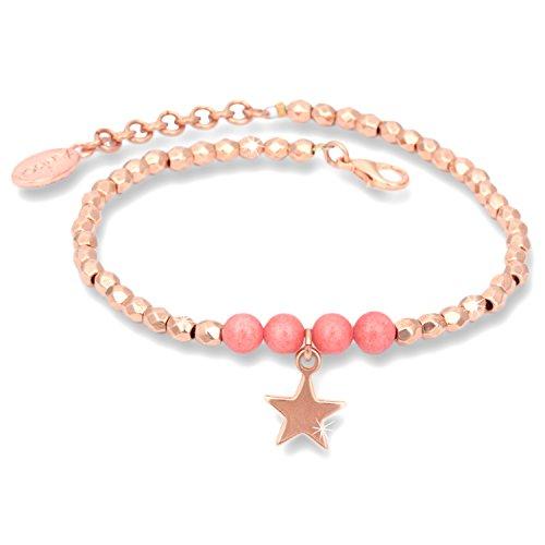Anisch de la cara–Bracciale da donna, oro rosa, stella, perline scintillanti, IA oro rosa-corallo-stella.
