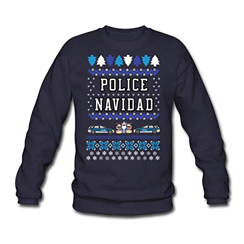 Spreadshirt Police Navidad Ugly Christmas Sweater Unisex Pullover, L, Navy