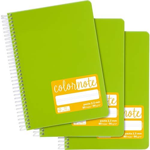 Grafoplás 98537321. Pack de 3 Cuadernos Escolares A5, Pauta 2,5mm, Tapas Polipropileno, Color Verde Claro, Serie Color Note