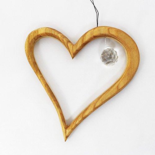 Fenster Deko zum Aufhängen Herz aus Holz mit Kristall, Fensterschmuck, Fensterdeko Geschenkidee Valentinstag Muttertag Weihnachten …