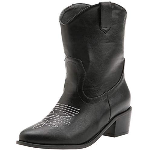 Lydee Mujer Moda Western Boots Ankle High Block Heels Pull on Botas Cortas Animal Print Black Talla 34