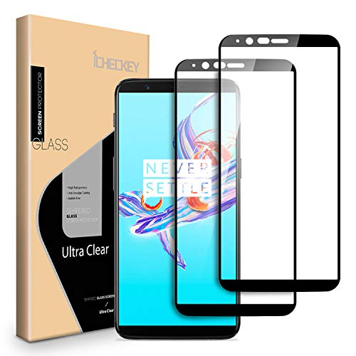 [2 Pack] OnePlus 5T Tempered Glass, ICHECKEY Full Adhesive, HD Clear, Case Friendly, Anti Scratch Screen Protector for OnePlus 5T, 6.01 Inch