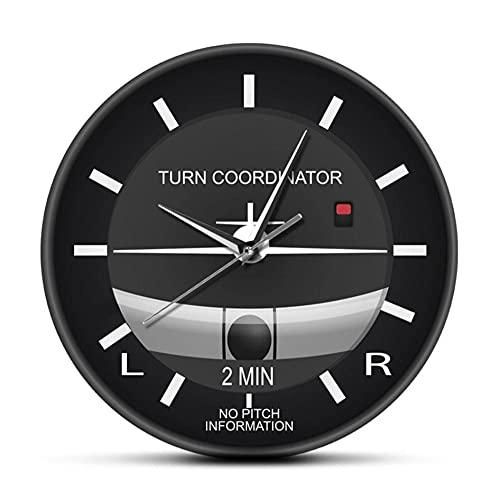 Reloj de Pared clásico silencioso sin tictac de aviación Reloj de Pared con Cara de Estilo de Cabina de avión Instrumento de avión Regalo de Pilotos-No Frame