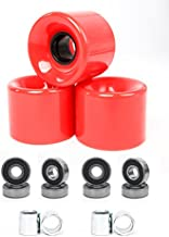 FREEDARE 58mm Skateboard Wheels 82a + ABEC-7 Bearing Steel and Spacers Cruiser Wheels (Red, Pack of 4)