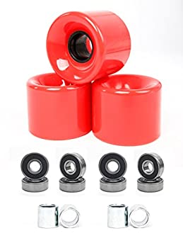 FREEDARE 58mm Skateboard Wheels 82a + ABEC-7 Bearing Steel and Spacers Cruiser Wheels  Red Pack of 4