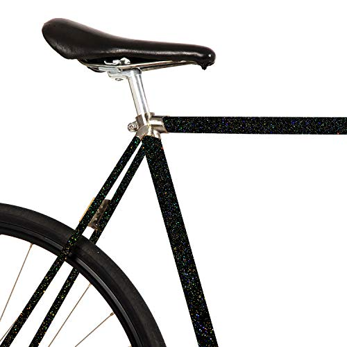 MOOXIBIKE Galaxy black Glitzer Fahrradfolie glänzend für Rennrad, MTB, Trekkingrad, Fixie, Hollandrad, Citybike, Scooter, Rollator für circa 13 cm Rahmenumfang
