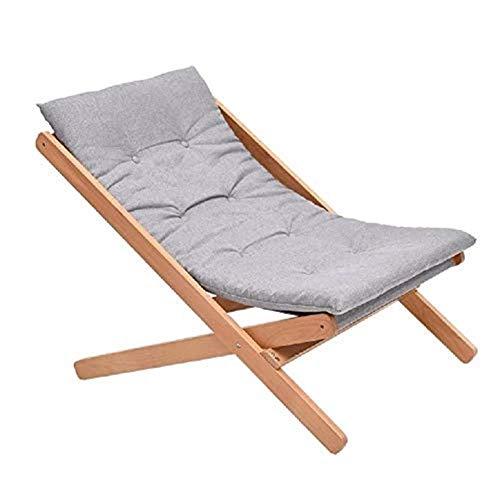 GJJSZ Sillones reclinables Grises Cómoda Silla de relajación de Madera Plegable Cama de Siesta de Verano Balcón Ocio Estudio de bambú Cama Plegable