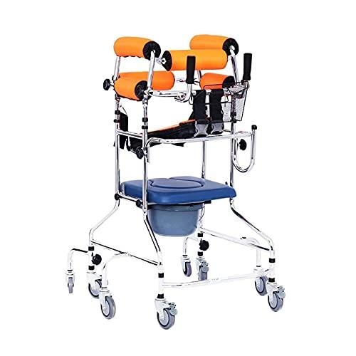 XJZHANG Caminante Soporte para Caminar Caminante con Inodoro, Soporte para Axilas para Caminar Apoyabrazos Marco para Bipedestación Ayudas para Miembros Inferiores para Pacientes Discapacitados ⭐