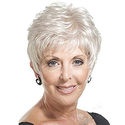 NiceToBuy Synthetic Wigs Short Fluffy Curly Heat Resistant Synthetic Silver White Wigs With Bangs For Older Women
