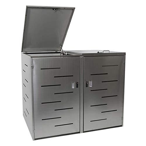 Mendler 2er-Mülltonnenverkleidung HWC-E83, Mülltonnenbox Mülltonnenabdeckung, erweiterbar 108x61x76cm ~ Edelstahl
