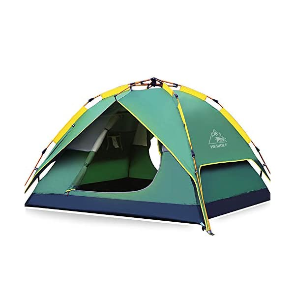 HEWOLF Automatic Camping Pop-up Tent for 3-4 person Updated Version Hydraulic Tent Double Layer Waterproof Dome Tent with Carry Bag - 200×180×135cm