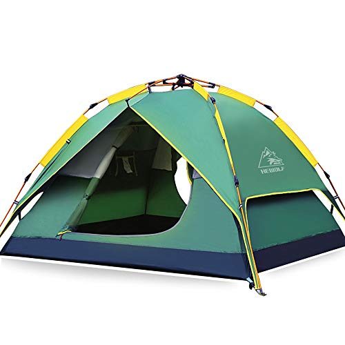 HEWOLF Automatic Camping Pop-up Tent 2-3 Person Instant Setup Hydraulic Tents Double Layer Dome Tent Canopy Large Family Tents for Camping Hiking Festival Tents - Darkgreen