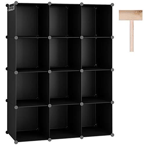 "C&AHOME Wire Cube Storage Organizer, 12-Cube Metal Grid Storage, Storage Bins Shelving, Modular Bookshelf Shelves, DIY Closet Cabinet Ideal for Bedroom, Office 36.6""L x 12.4""W x 48.4""H White"