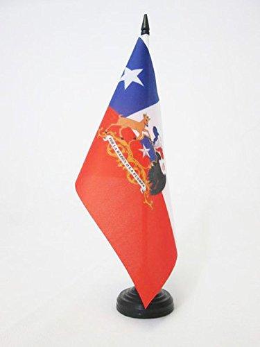 AZ FLAG Bandera de Mesa de Chile con Armas 21x14cm - BANDERINA de DESPACHO CHILENA 14 x 21 cm