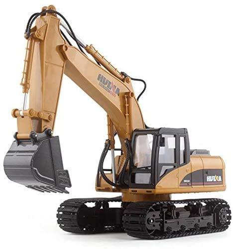 Juguetecnic Excavadora Teledirigido a Escala 1:14 Profesional 15 Canales   Camión Construcción Excavadoras RC Radiocontrol a Bateria con Luces y Sonidos con Mando Control Remoto