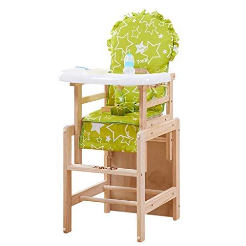 Soild Bois Bébé Chaise Haute Siège D'appoint Réglable Manger Table À Manger Chaise Sièges Enfants Chaise pour Nourrir (Color : Green Stars)