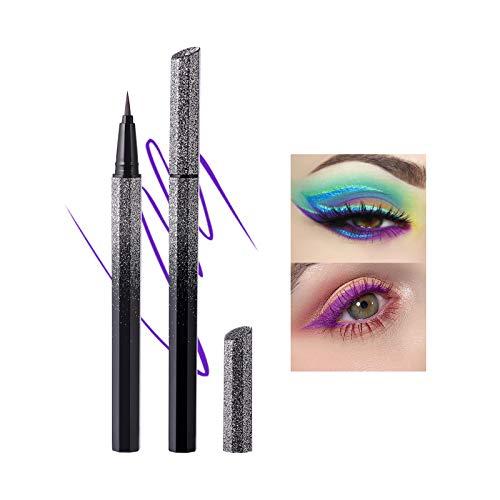 Mimore Color Eyeliner impermeable a prueba de sudor no mancha Delineador de ojos líquido estrellado ultrafino de secado rápido Cosmético Maquillaje libre de crueldad (Purple)