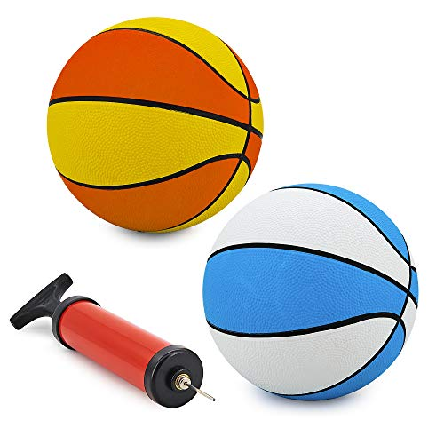Srenta 7quot Assorted Colors Mini Basketballs | Variety Colors Indoor Outdoor Game Balls | Perfect for Beginners | Pack of 2 Assorted Colors