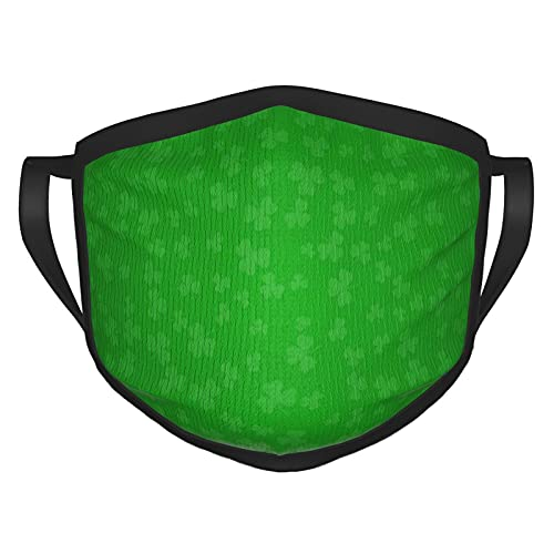 Clover Leaves St Shamrock Nature - Máscara facial cómoda y reutilizable con bordes negros para adultos