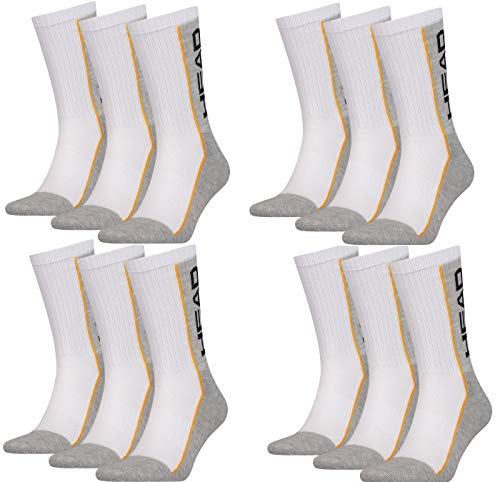 HEAD Unisex Performance Crew Socken Sportsocken 12er Pack (weiß/grau, 39-42)