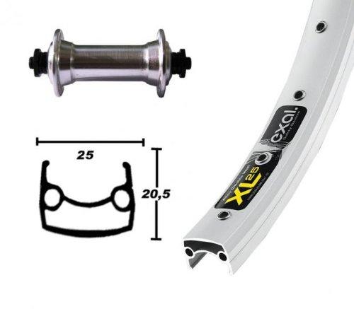 Bike-Parts 26´´ Vorderrad Exal XL 25 + Shimano Tourney TX500 (QR), Dimension:25-559 (26x1,90´´), Ausführung:silber/silber/Niro