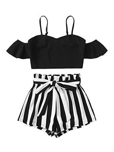 DIDK Damen Shorts und Top Sets 2 Piece Bauchfrei Tops Cold Scholder Trägershirt Kurze Hose Kombi 2-Teiler Sommer-Outfit Gestreift Schwarz M