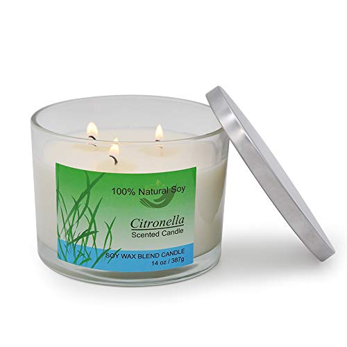 3 Wick Citronella Candles Outdoor and Indoor 14oz Natural Soy Wax Off Candle with 60-70 Hours Burn
