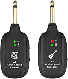 Nrpfell UHF Guitar Wireless System Transmitter Receiver Built-in Rechargeable