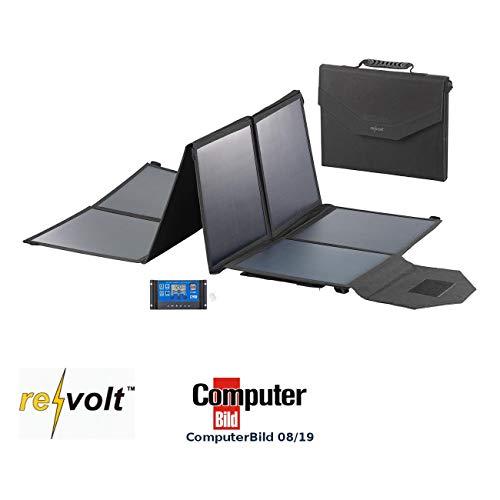 reVolt Solarkollektor: Faltbares Solarpanel, USB-Laderegler, 8 monokrist. Solarzellen, 100 W (Faltbares Solarmodul)