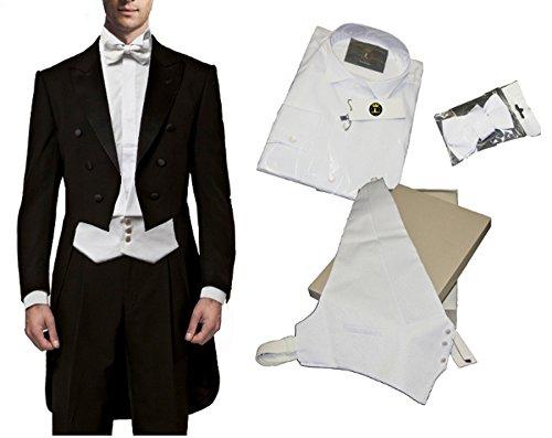 Falkenhausen blau Marine Slim fit Anzug zur Hochzeit mit Weste Elfenbein Hochzeitsanzug 8 TLG Set Freiherr v