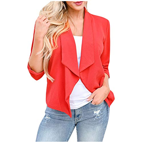Best Buy! Fammison Women Fashion Turn Down Collar Solid Color Long Sleeve Thin Outwear Suit Tops