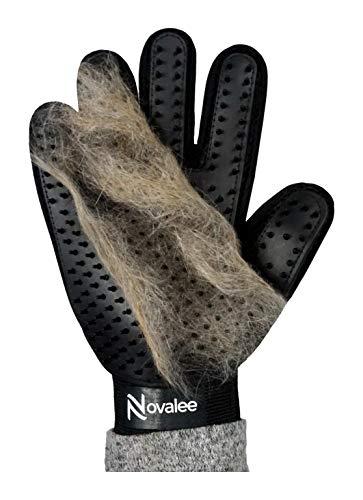 Novalee Guante de cepillado para mascotas, color negro, para perros, gatos y caballos, para masaje y eliminación de pelo de animales