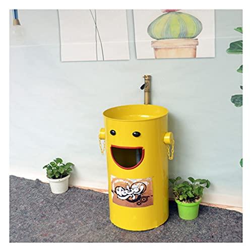MBY Lavabo Pedestal De Baño Dibujos Animados, Fregadero De Pie Dormitorio Color Creativo, Lavamanos Hierro Forjado con Grifo Y Tubería De Desagüe(Color:Fregadero de pie Amarillo)