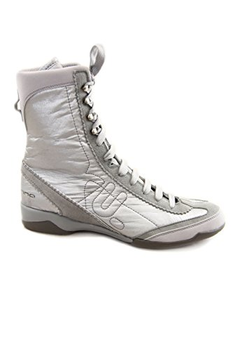 Fornarina Rip Stop Mesh / Suede Ankle Boots, Silber - silber / schwarz - Größe: 40 EU