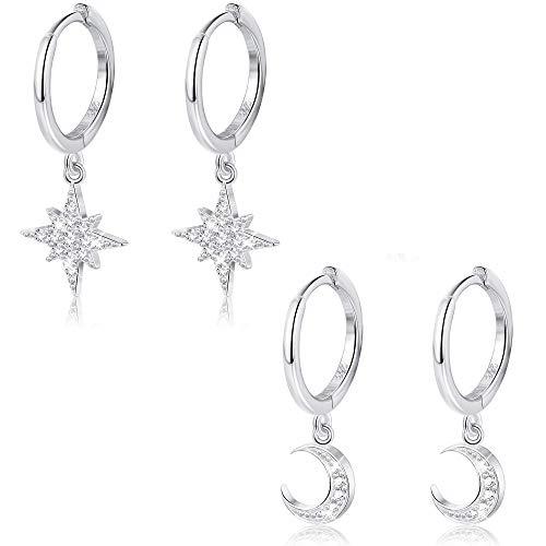 Milacolato 2 Paires 925 Sterling Silver Moon Star Dangle Hoop CZ Drop Huggie Cartilage Cute Boucle D'oreille Set pour les Femmes