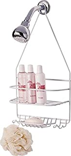 Rocky Mountain Goods Shower Caddy - Rust proof high grade steel - Designated tiered shelves for shampoo / soap - Razor hangers - Includes secure suction cup (White)