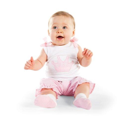 Mud Pie Baby Little Princess Cotton White Tank and Pink Seersucker Bloomer...