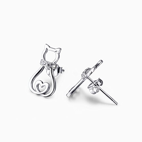 Orecchini a chiodo, a forma di cuore e gatto, in argento Sterling, con Zirconia cubica (Orecchini gatto A)