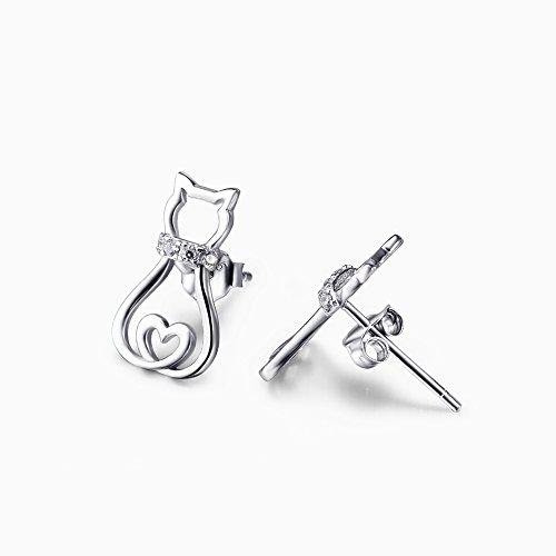 925 Sterling Silber Zirkonia Katze Ohrstecker Ohrringe MEHRWEG (Katzen Ohrringe A)