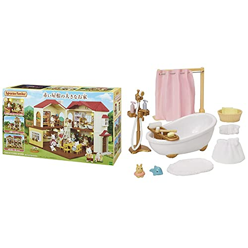 Sylvanian Family Home Large House with Red Roof, HA-48 & Sylvanian Family, Furniture, Bath Set - 605