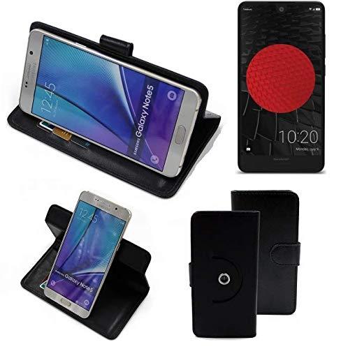 K-S-Trade® Hülle Schutz Hülle Für Sharp Aquos C10 Handyhülle Flipcase Smartphone Cover Handy Schutz Tasche Bookstyle Walletcase Schwarz (1x)
