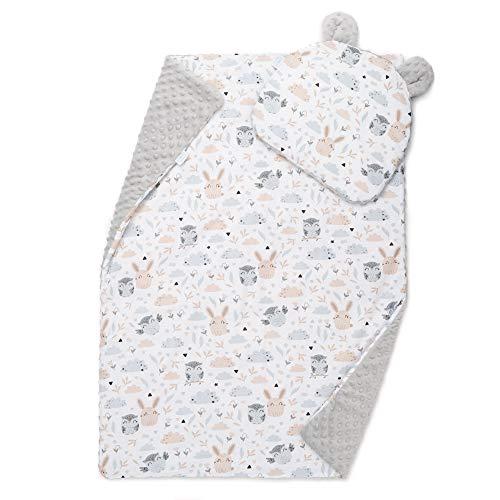 EliMeli Baby-Set BABYDECKE mit Kissen Babybettwäsche Minky Decke mit Kopfkissen für Mädchen und Junge Kuscheldecke mit Kinderkissen für Kinderwagen oder Bett (60x75, Grau - Eule)