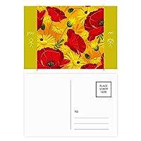 キャンバスの花の植物画ヒナゲシ 友人のポストカードセットサンクスカード郵送側20個