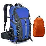 MORNYRAY Mochila Senderismo 40L, Mochila de Montaña Impermeable Mujer Hombre, Mochila de Viaje Trekking Acampada Caminar con Cubierta Lluvia (Azul)