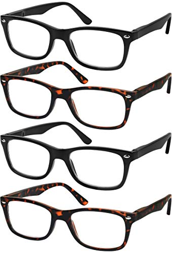Reading Glasses Set of 4 Quality Readers Spring Hinge Glasses for Reading for Men and Women Set of 2 Black and 2 Havana +2.5